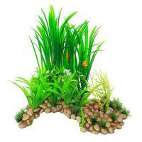 Декорация в террариум растение Пещера с растениями XL 20x14x33см