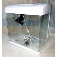 Аквариум 25 литров прямоугольный с крышкой пластик MJ-368 (передняя стенка без швов)