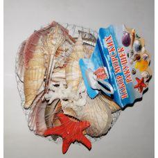 Набор натуральных океанических раковин в сетке 9см